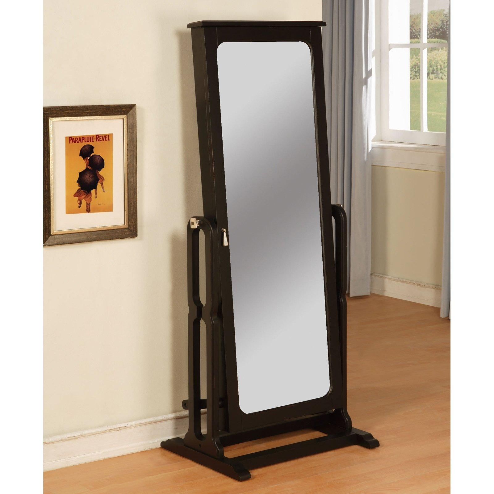 Furniture: Floor Standing Jewelry Armoire Mirror On Wooden Floor With Regard To Cream Floor Standing Mirror (Image 14 of 20)