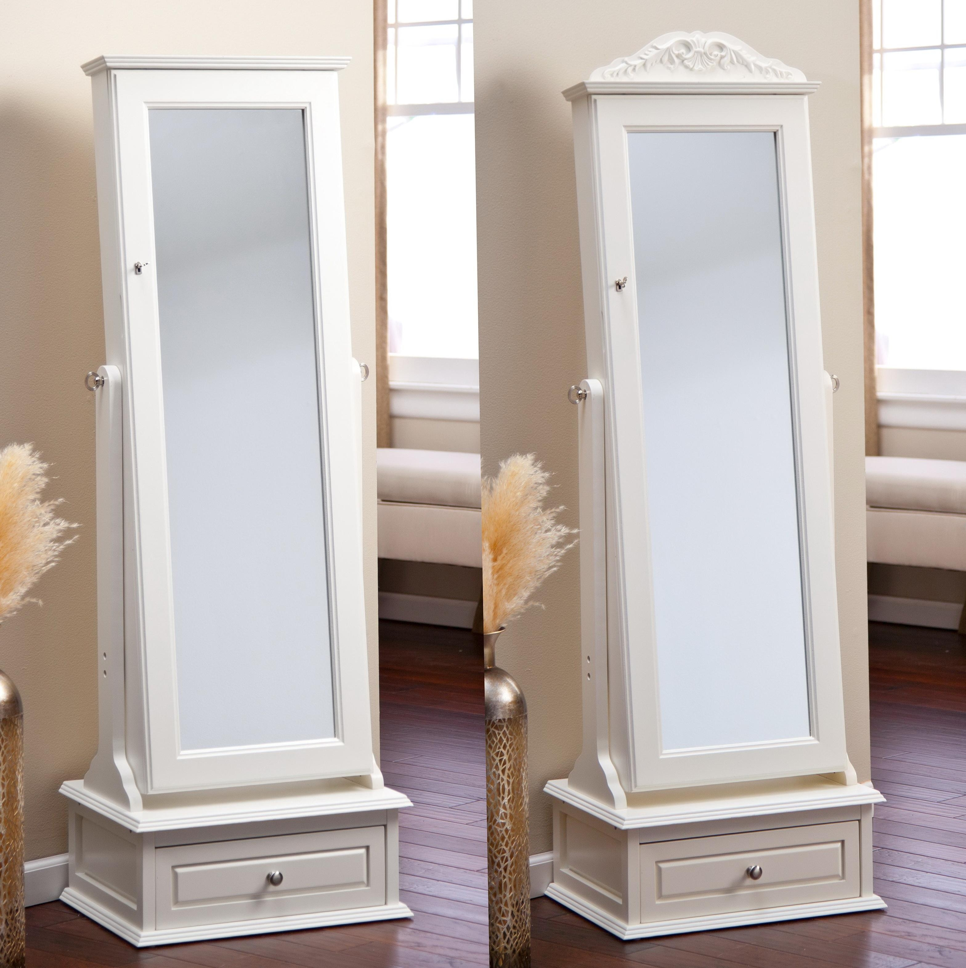 Furniture: Full Mirror Jewelry Armoire And White Jewelry Armoire Within Cream Floor Standing Mirror (Image 15 of 20)