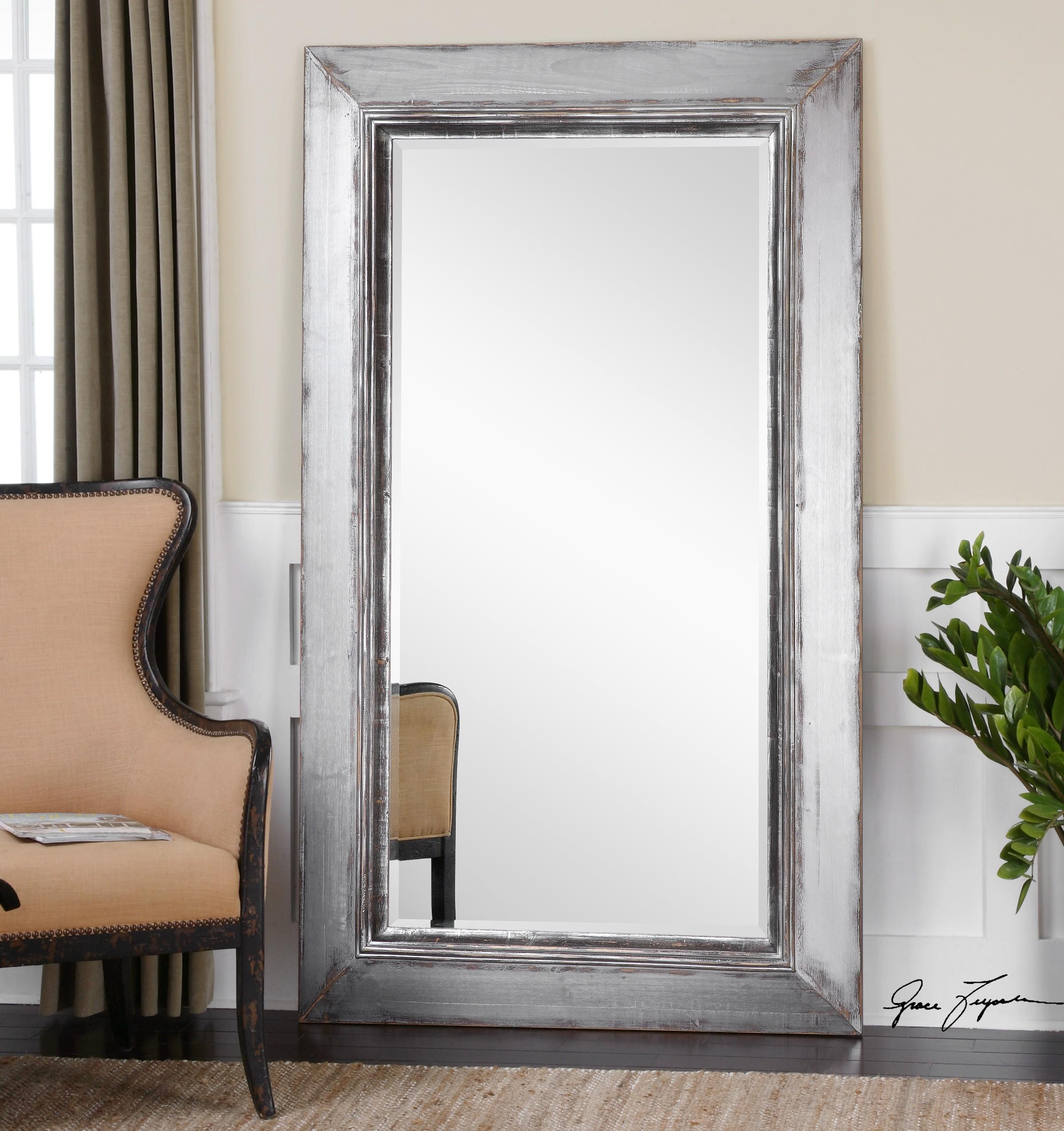 palmer frosted tile silver finish round accent wall mirror b