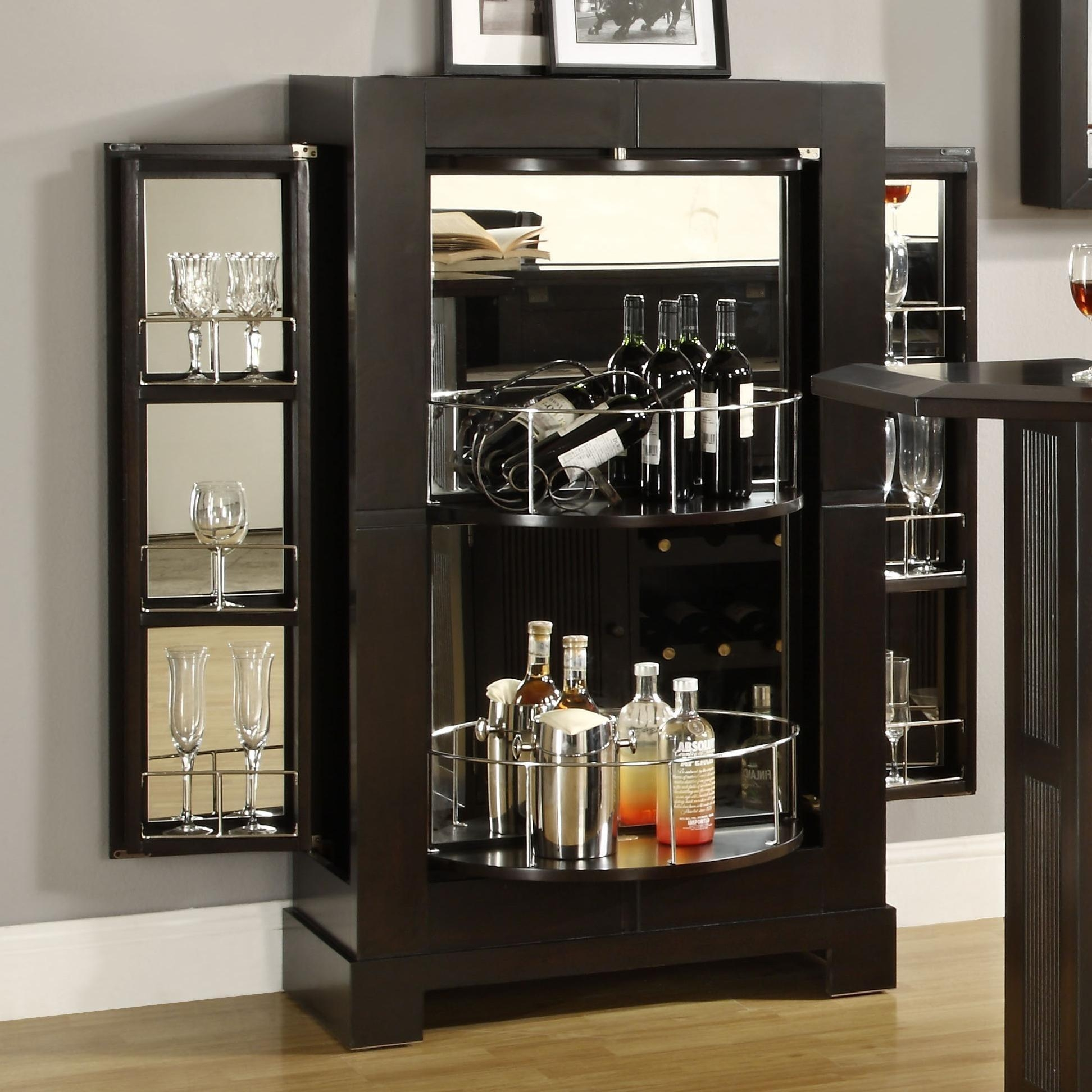 Furniture: Modern Black Mirrored Home Bar Cabinet With Wine Glass Within Black Mirrored Cabinet (Image 12 of 20)