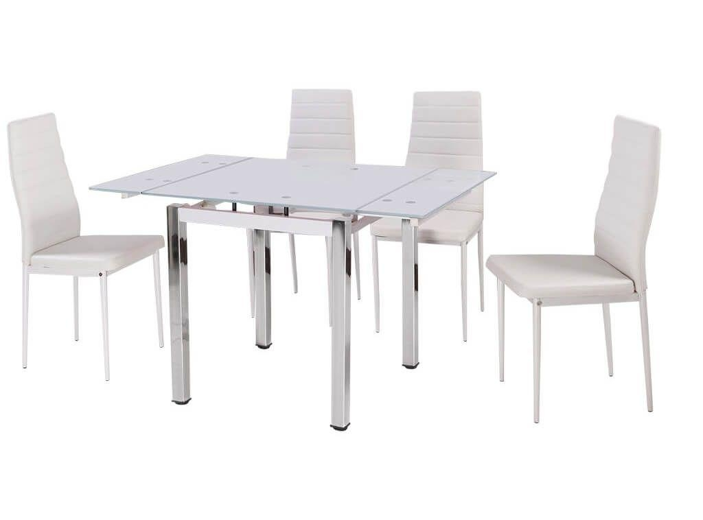 Furniture: Modern White Gloss Extending Dining Table With 4 White Regarding White Dining Tables And 6 Chairs (Image 11 of 20)
