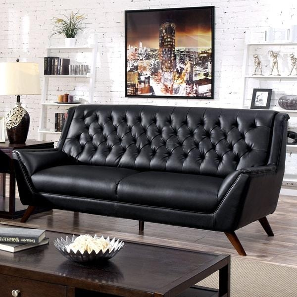 Furniture Of America Valentino Mid Century Modern Bonded Leather Inside Bonded Leather Sofas (View 12 of 20)