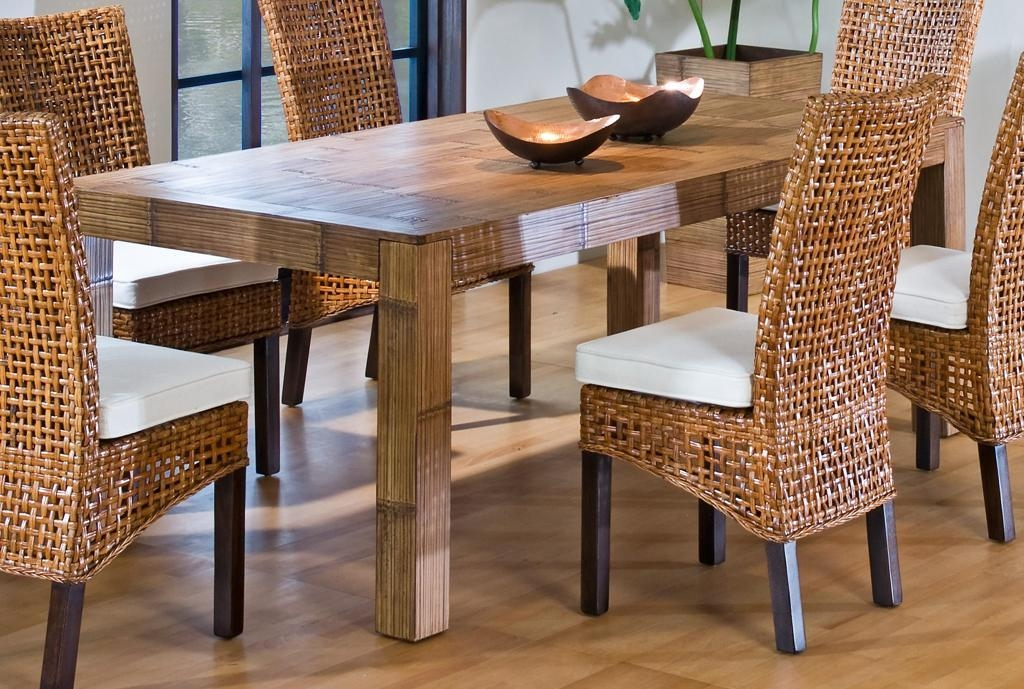 Furniture : Outstanding Wicker Dining Room Furniture With Rattan For Wicker And Glass Dining Tables (Image 8 of 20)