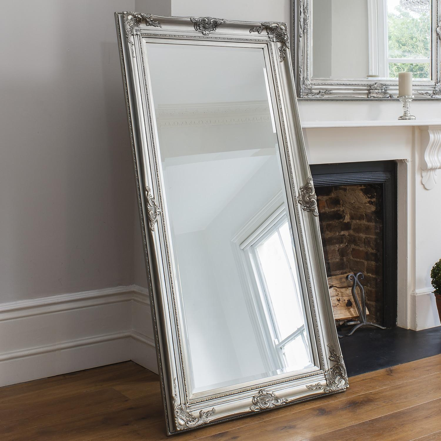 Furniture: Silver Leaner Mirror Plus Stool And Wooden Floor For With Regard To Huge Mirrors For Sale (Image 8 of 20)