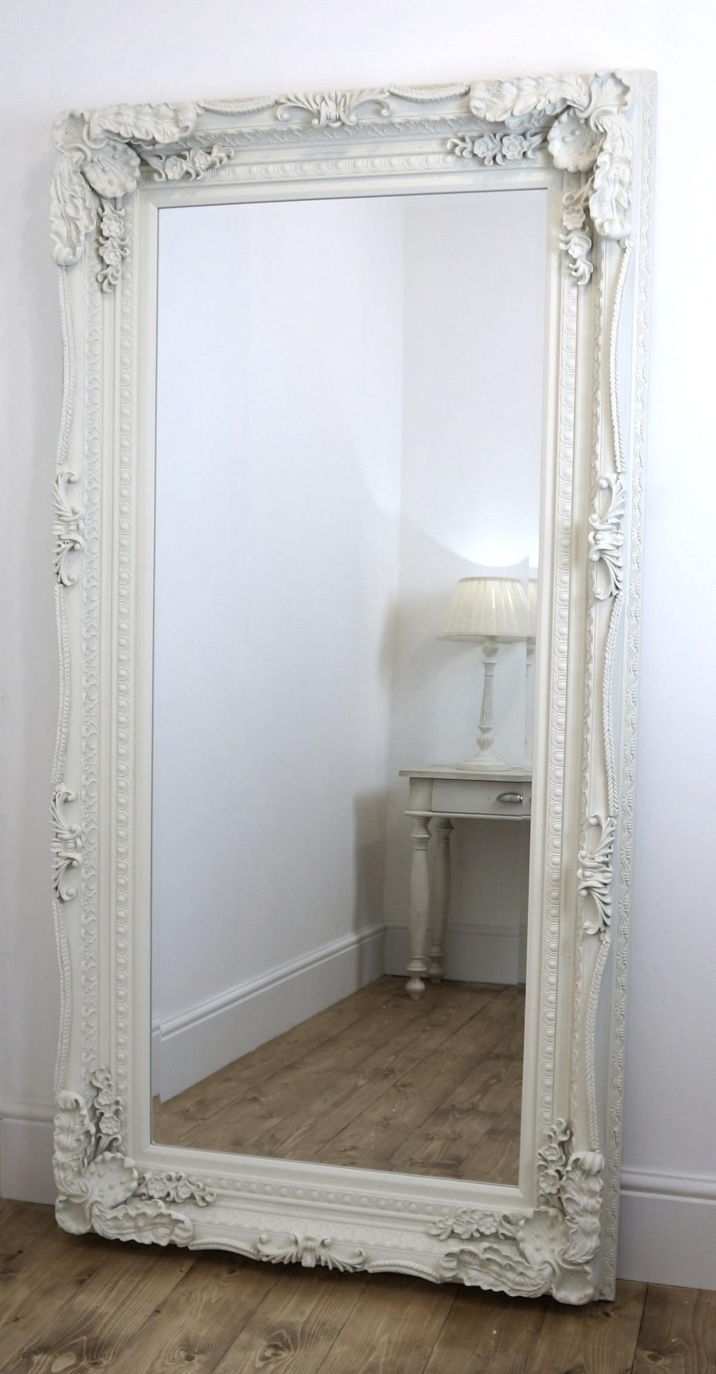 Furniture: White Frame Leaner Mirror With Side Table And Rug For With Large White French Mirror (Image 9 of 20)