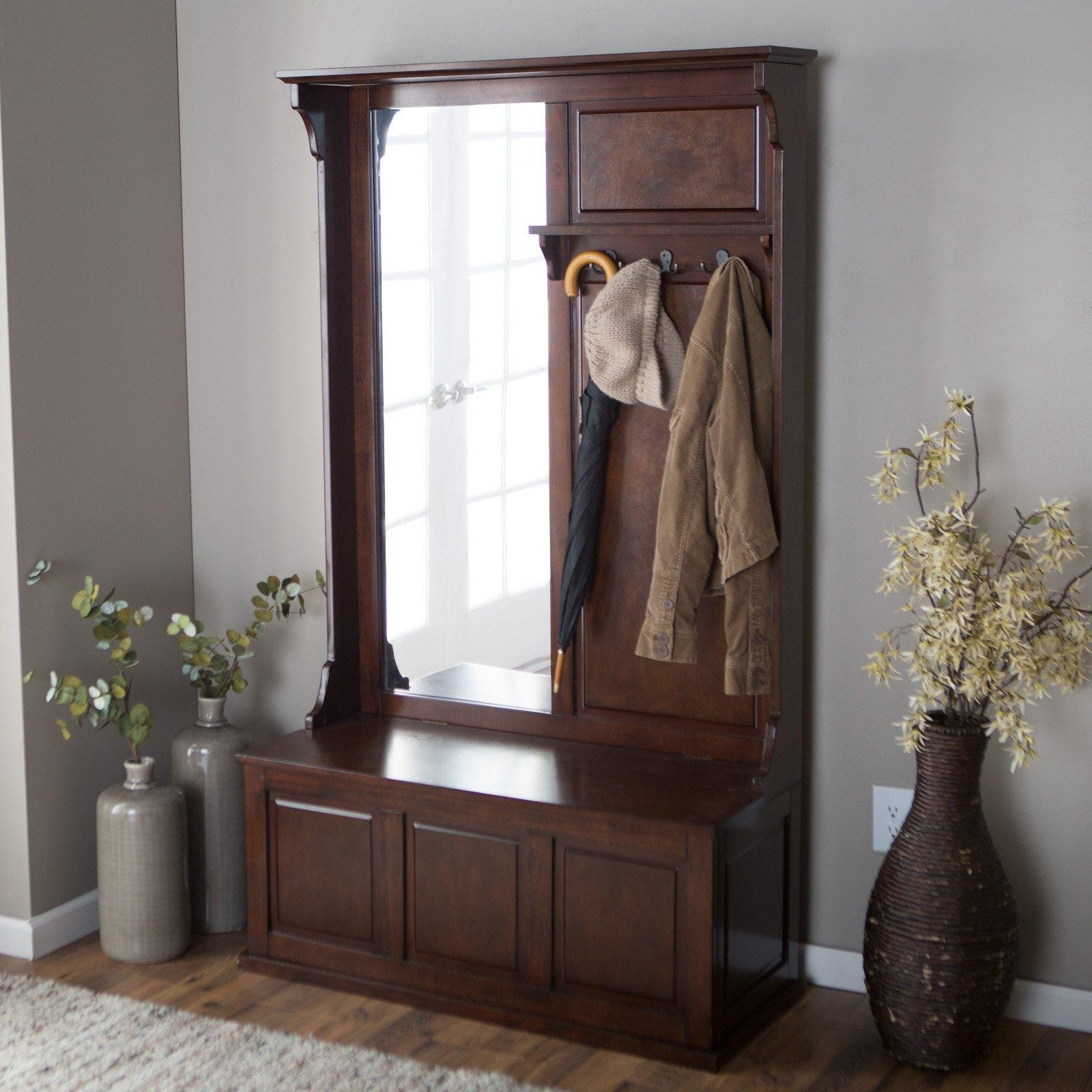 Furniture: White Hall Tree Storage Bench With Five Hooks And Throughout Contemporary Hall Mirrors (Image 15 of 20)