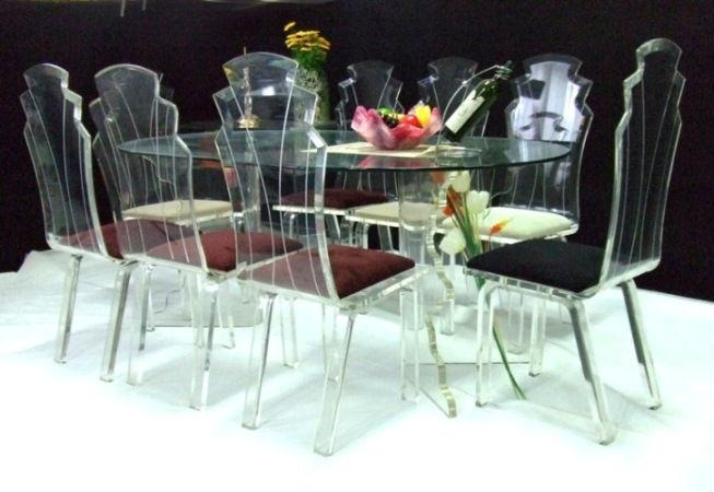 Furniture/crystal Acrylic Dining Table Sets With Red Fabric With Regard To Crystal Dining Tables (View 17 of 20)