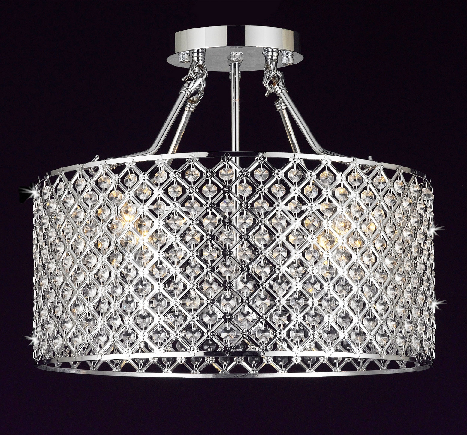 G7 B12white21304 Gallery Chandeliers Flushmount 4 Light Chrome With Regard To 4Light Chrome Crystal Chandeliers (Image 8 of 25)
