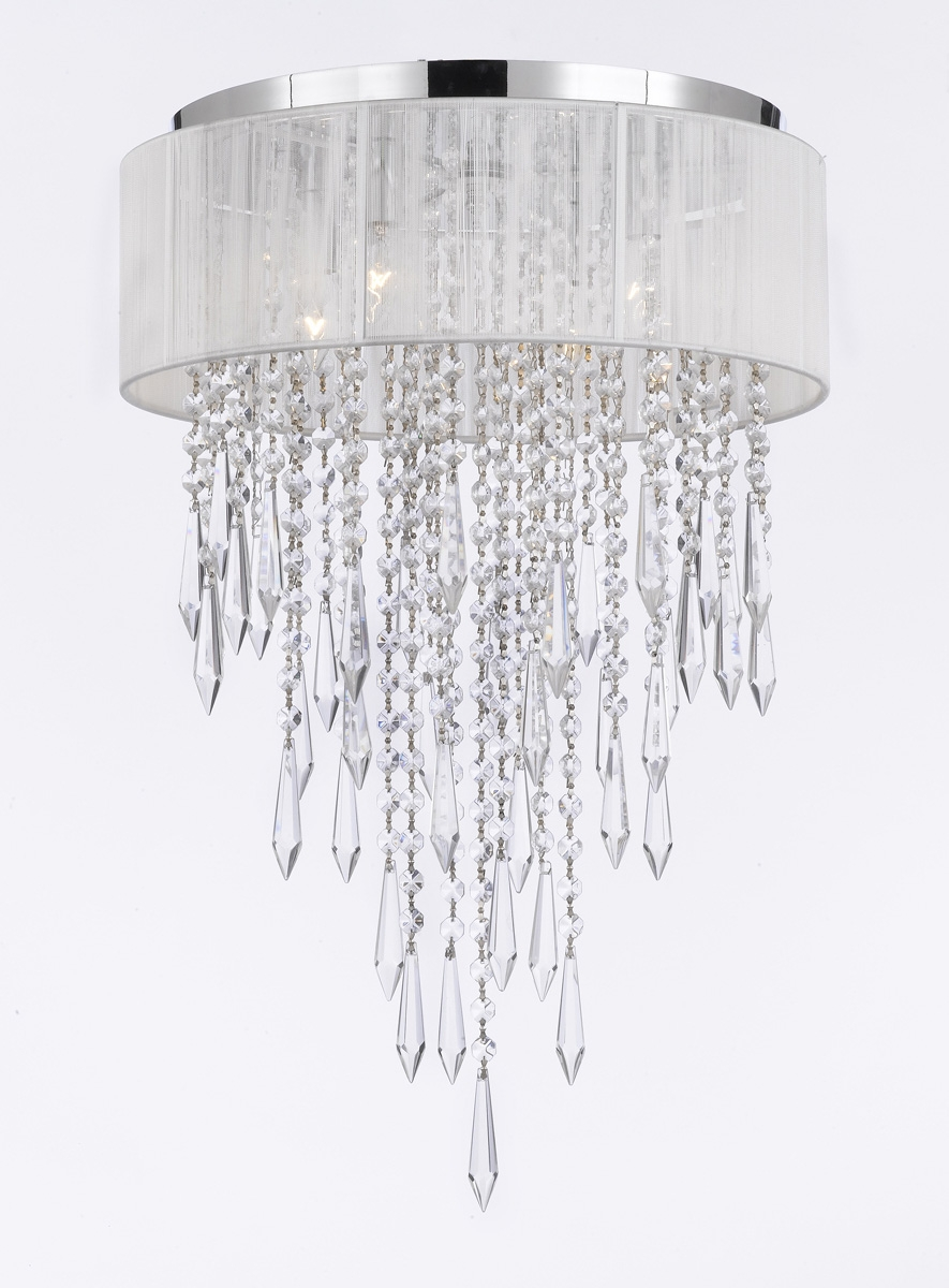 G7 B27b12white21304 Gallery Chandeliers Flushmount 4 Light With Regard To 4 Light Crystal Chandeliers (Image 7 of 25)