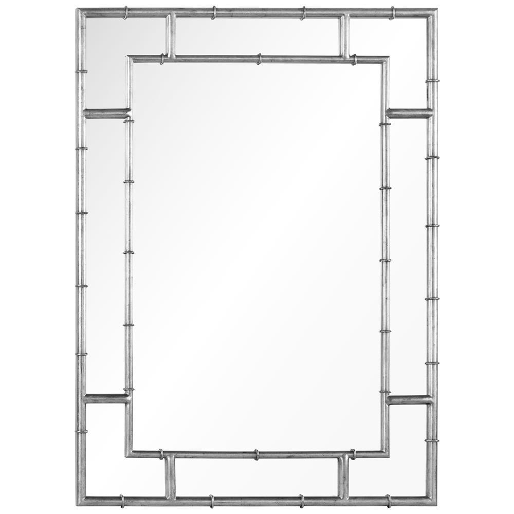 Gable Hollywood Regency Distressed Silver Leaf Iron Bamboo Mirror Regarding Distressed Silver Mirror (View 14 of 20)