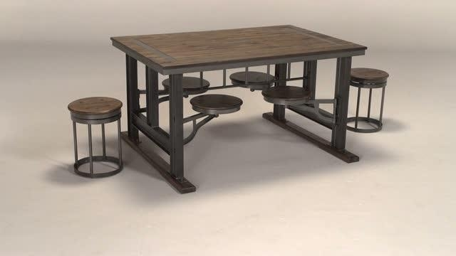 Galvin Cafeteria Table | World Market In Dining Tables With Attached Stools (Image 9 of 20)