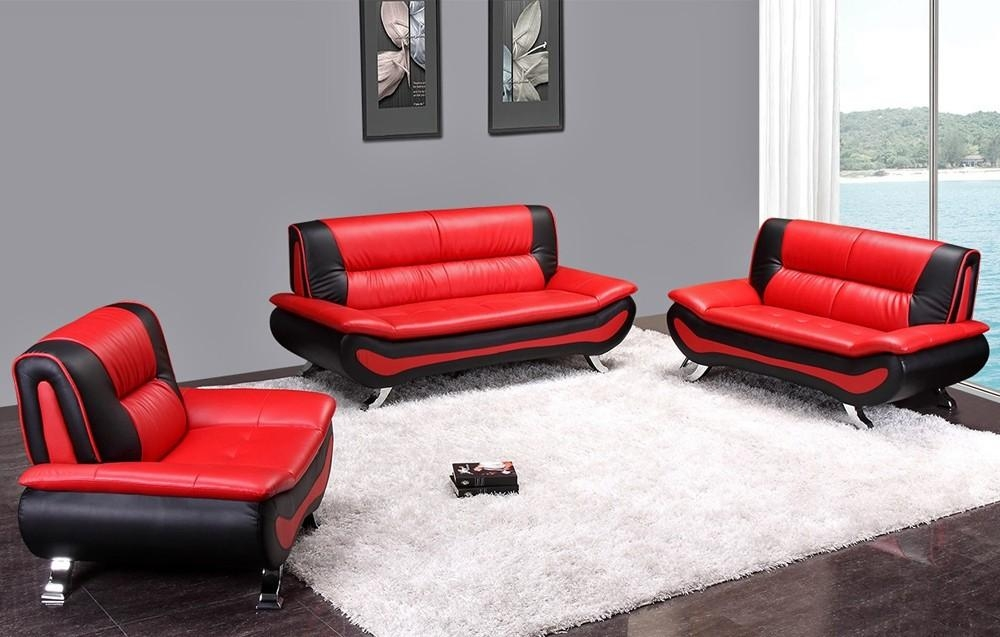 Garland Black And Red Modern Sofa Set In Black And Red Sofa Sets (View 4 of 20)