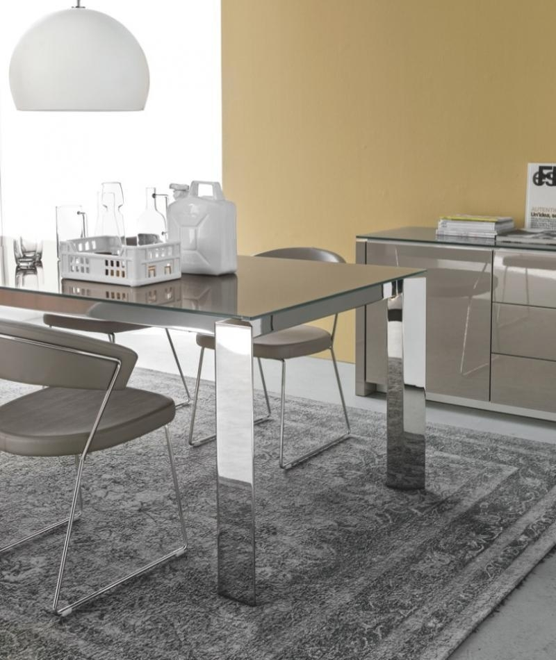 Gate, Modern Extending Glass Top Dining Table, Various Finishes Pertaining To Brushed Metal Dining Tables (View 6 of 20)