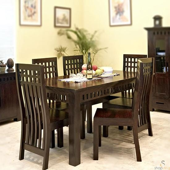 Geet Solid Wood 6 Seater Dining Table Set Throughout Six Seater Dining Tables (Image 12 of 20)