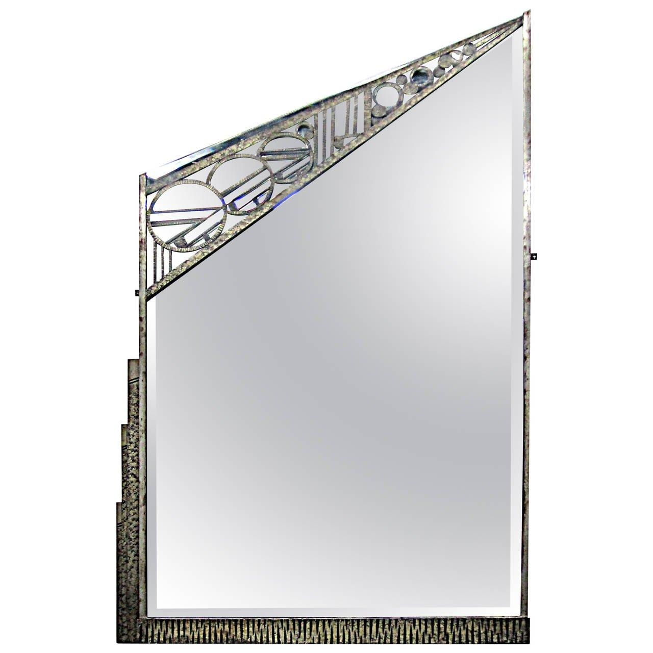 Geometric French Art Deco Wrought Iron Mirrorcharles Piguet Regarding Black Wrought Iron Mirrors (View 19 of 20)