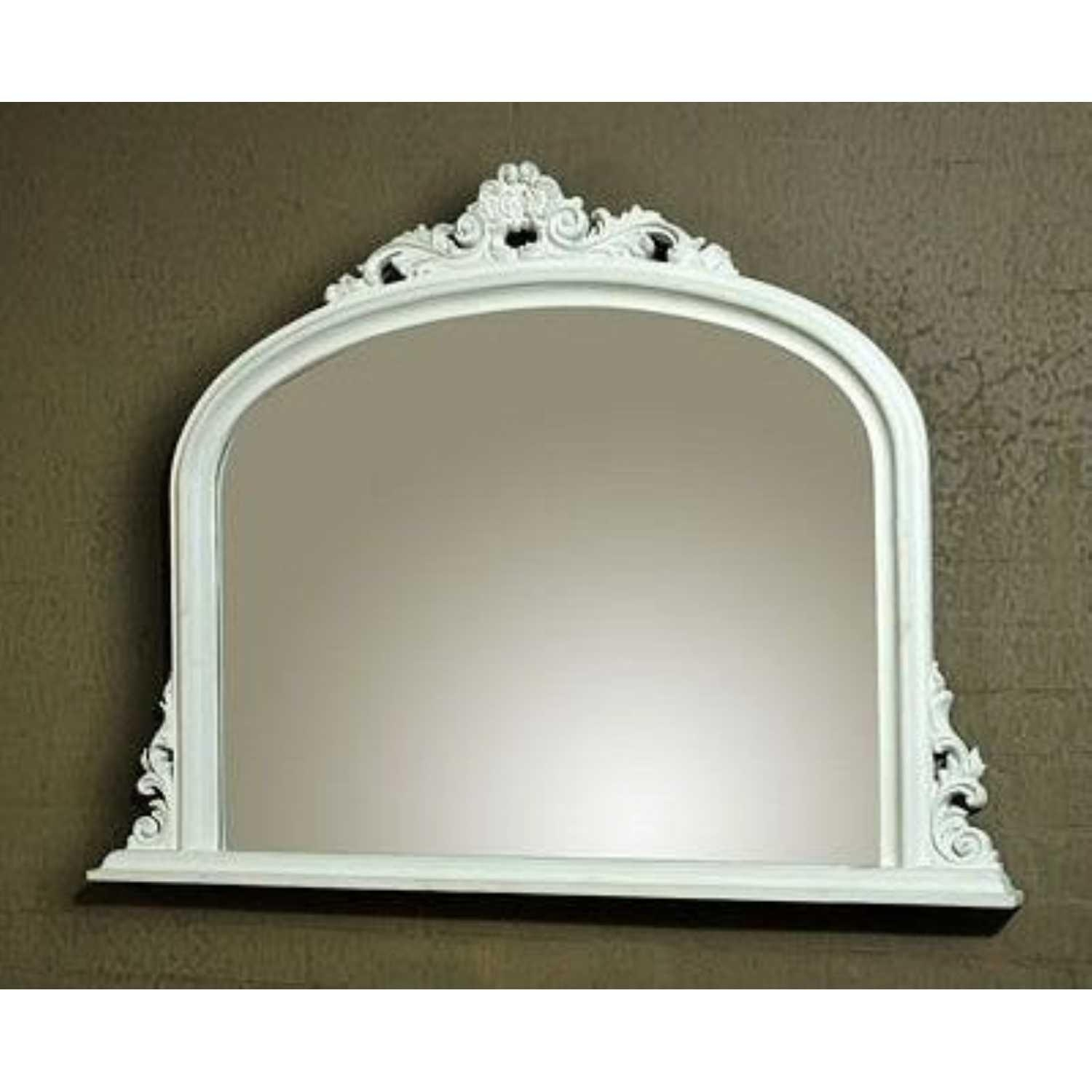 Georgiana White Clay Paint Bevelled Overmantle Mirror Regarding White Overmantle Mirror (Image 7 of 20)