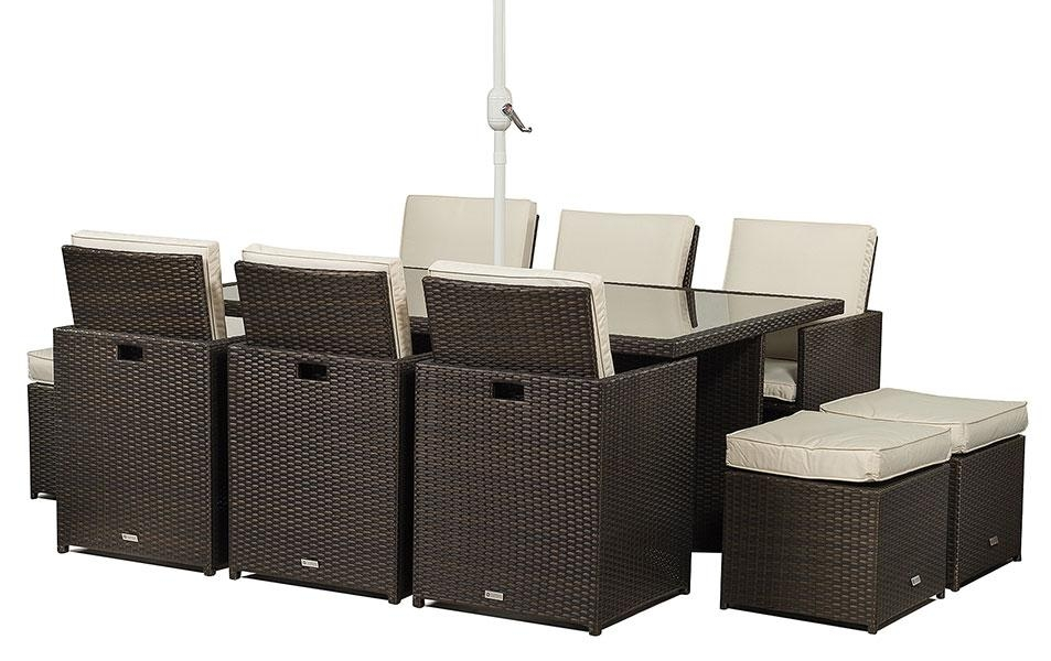 Giardino 6 Seat Cube Rattan Dining Table Chairs Garden Outdoor Pertaining To Cube Dining Tables (View 7 of 20)