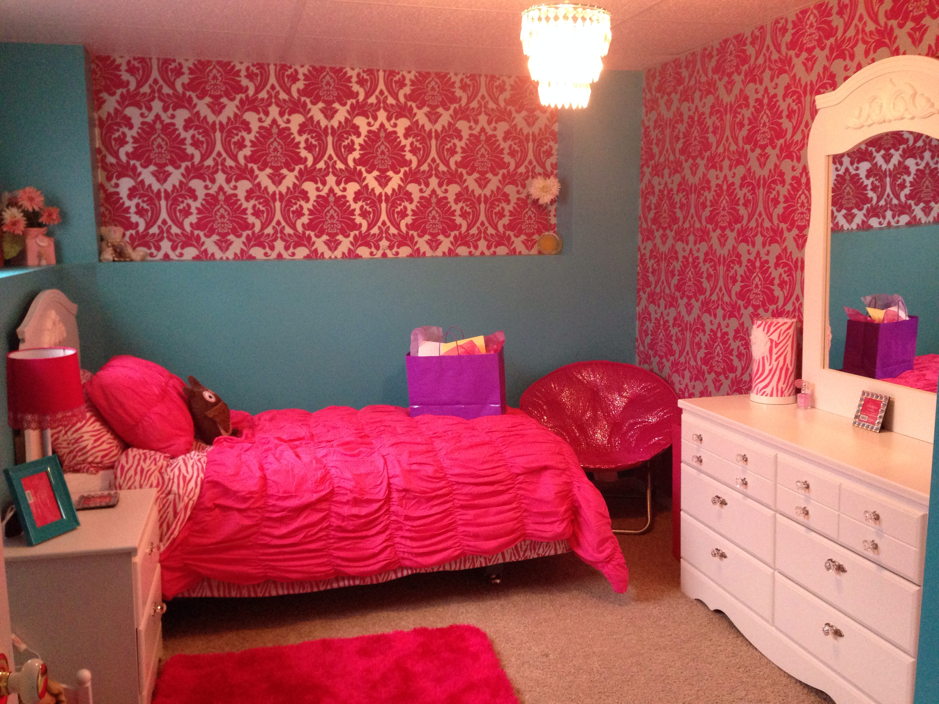 Girls Bedroom Turquoise And Hot Pink Small Chandelier Is The Pertaining To Turquoise And Pink Chandeliers (View 14 of 25)