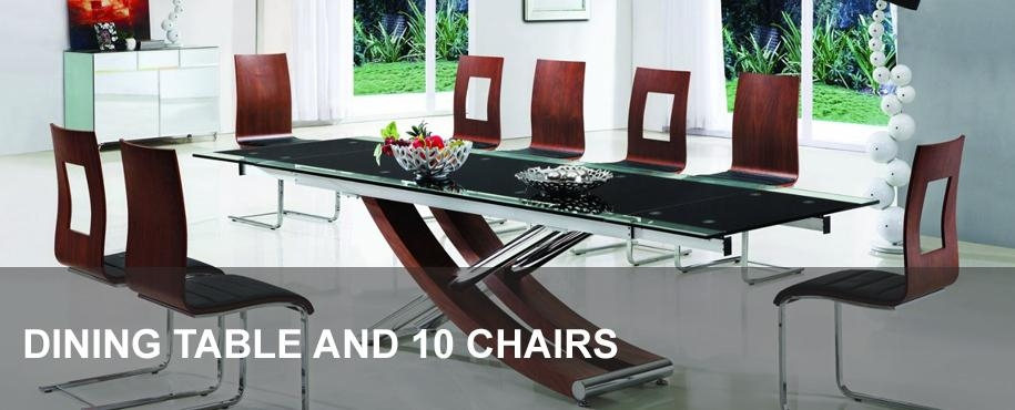 Glass Dining Table And 10 Chairs | Modenza Furniture With 10 Seat Dining Tables And Chairs (View 17 of 20)