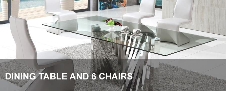 Glass Dining Table And 6 Chairs | Modenza Furniture Inside Cheap Glass Dining Tables And 6 Chairs (Image 12 of 20)