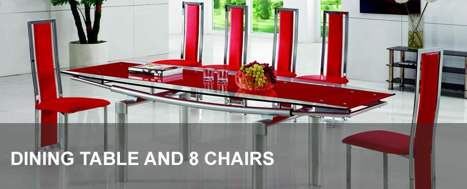 Glass Dining Table And 8 Chairs | Modenza Furniture Inside Extending Glass Dining Tables And 8 Chairs (Image 15 of 20)