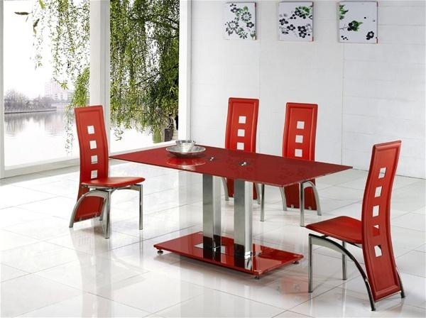 Glass Dining Table And Chairs Set – Sl Interior Design Inside Red Dining Table Sets (View 13 of 20)