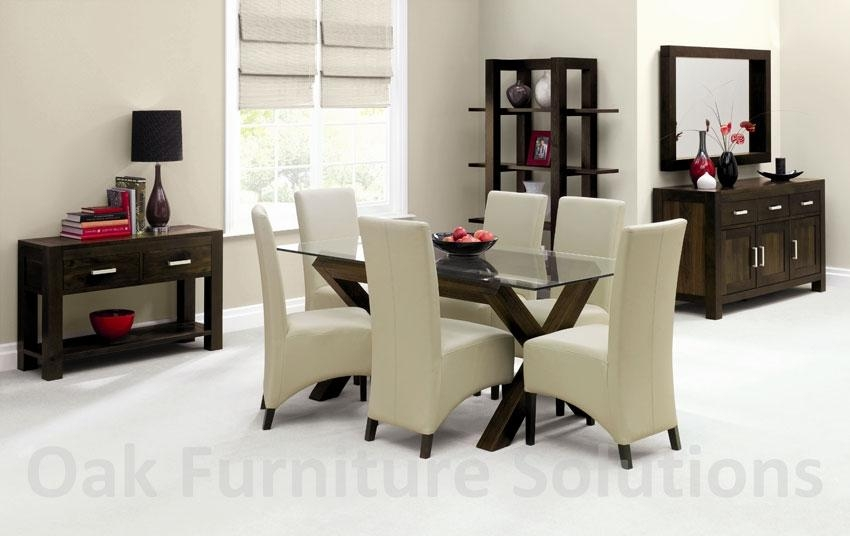Glass Dining Table And Chairs Within Walnut Dining Table And 6 Chairs (Image 11 of 20)