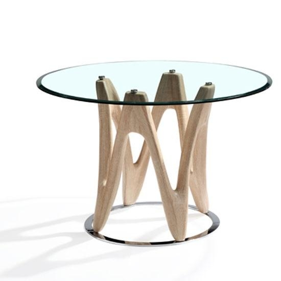 Glass Dining Table Round In Sonoma Oak And Chrome Within Oak And Glass Dining Tables (Image 8 of 20)