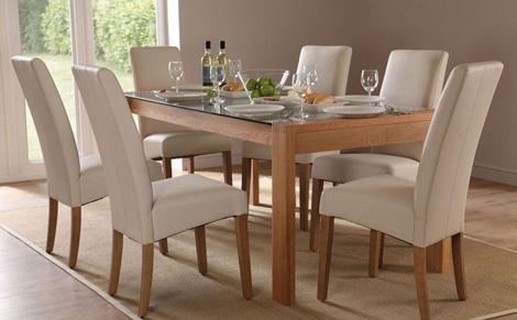 Glass Dining Table Set For 6 Intended For Oak And Glass Dining Tables (Image 10 of 20)