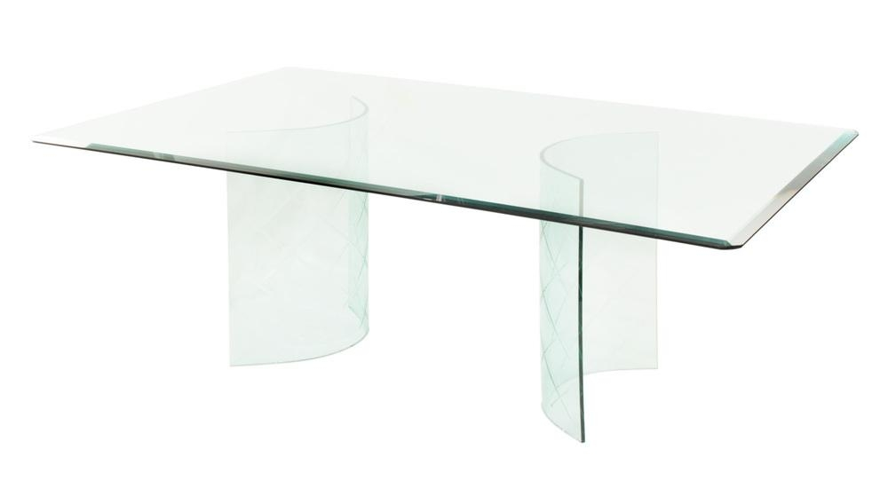 Glass Dining Table With Curved Etches Bases — Lobel Modern Nyc Inside Curved Glass Dining Tables (Image 17 of 20)