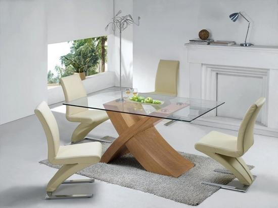 Glass Dining Table With Oak Legs (Image 9 of 20)