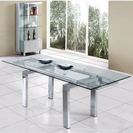 Glass Dining Tables Glass Tables Glass Extendable Dining Table In Glass Extending Dining Tables (Image 10 of 20)