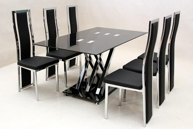 Glass Round Dining Table For 6 Inside 6 Chair Dining Table Sets (Image 15 of 20)