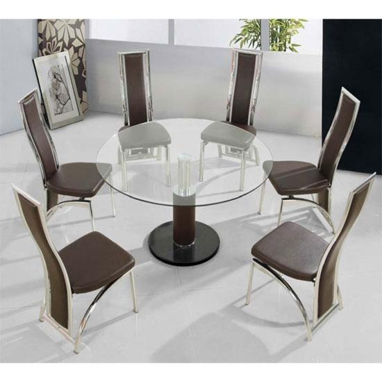 Glass Round Dining Table For 6 Within 6 Seat Round Dining Tables (Image 13 of 20)