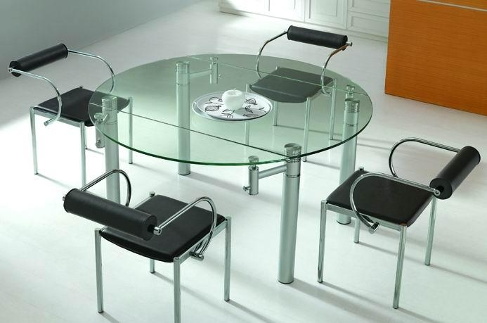 Glass Round Dining Table | Kobe Table Inside Glass Round Extending Dining Tables (Image 9 of 20)
