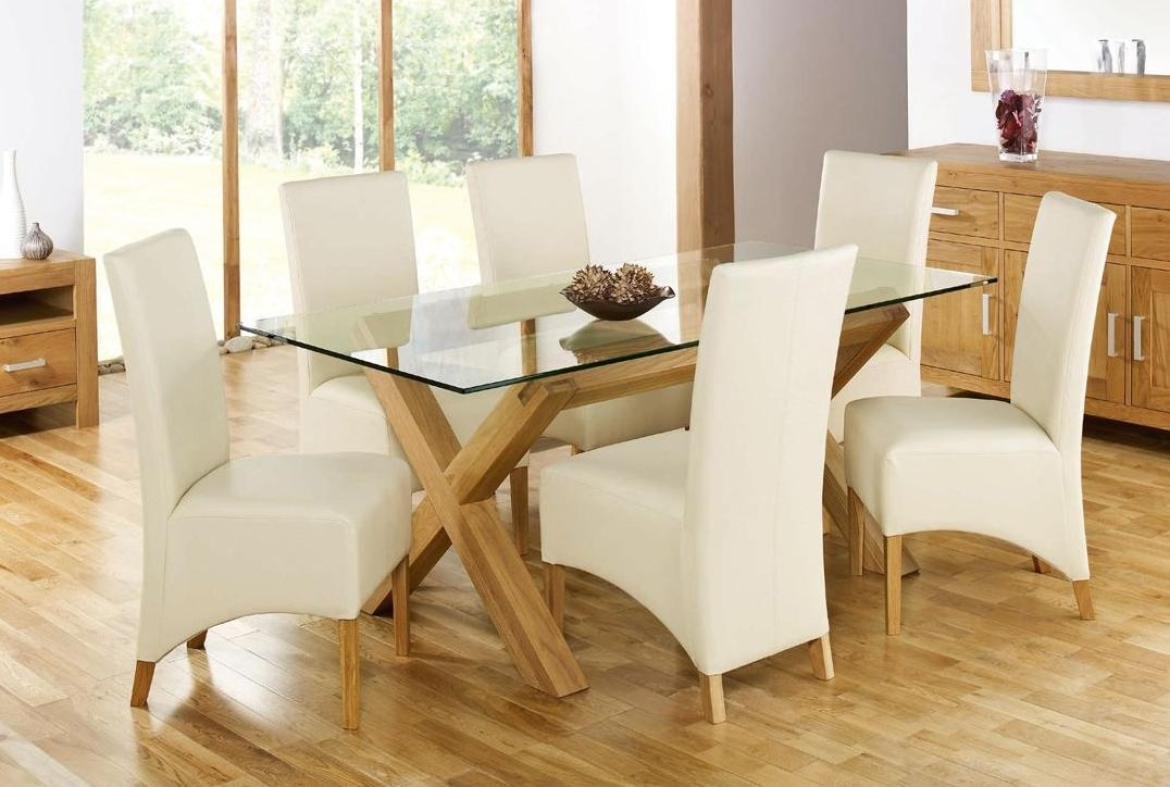 Glass Top Dining Tables For An Elegant Feeling Inside Glass Dining Tables With Oak Legs (Image 8 of 20)