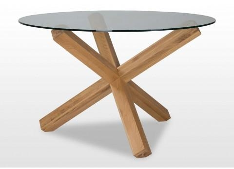 Glass Top Round Table – Turin Regarding Round Glass And Oak Dining Tables (View 17 of 20)