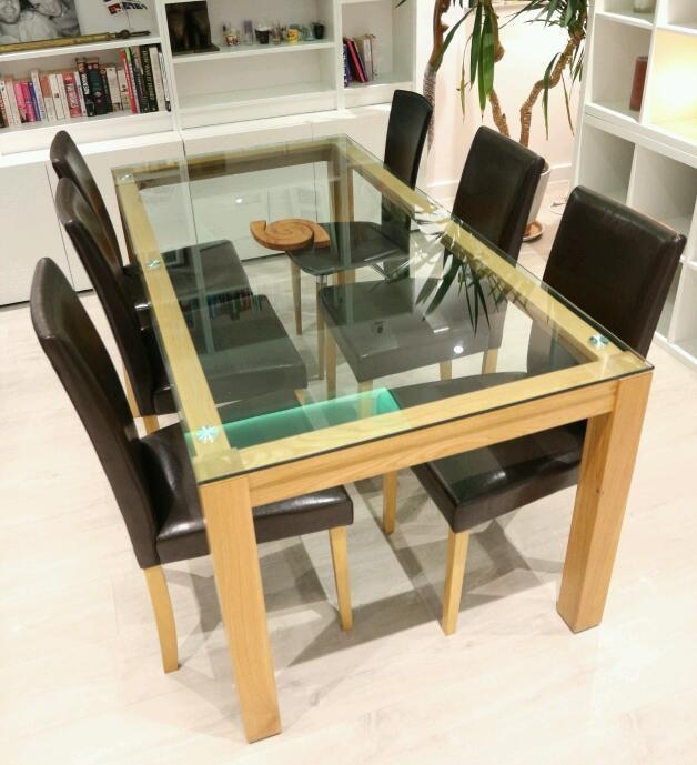 Glass Top Solid Oak Dining Table And Chairs | In St Albans Throughout Glass Top Oak Dining Tables (Image 11 of 20)