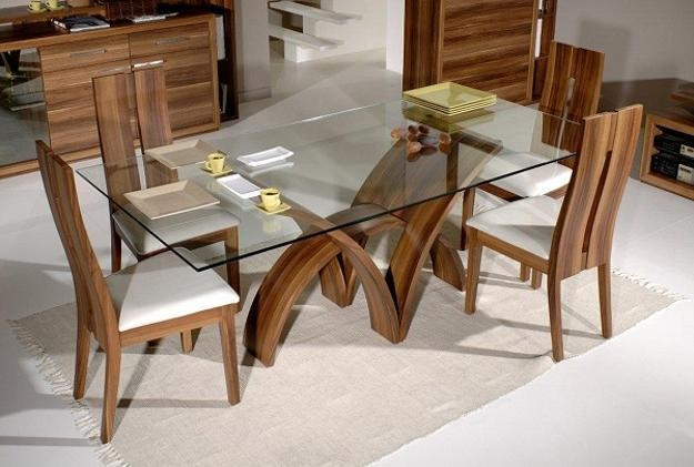 Glass Top Tables Magnifying Beautiful Dining Room Design Inside Wooden Glass Dining Tables (Image 15 of 20)