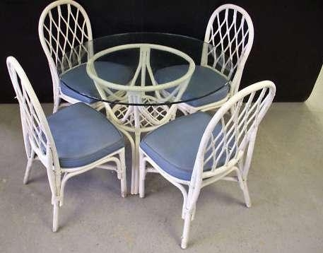 Glass Top Wicker Dining Table + 4 Chairs – Milwaukee, Wi For Wicker And Glass Dining Tables (Image 9 of 20)
