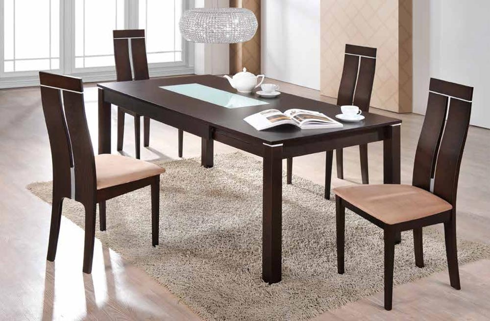 Global Furniture D6948Dt Dark Walnut Dining Table In Walnut Dining Tables And Chairs (Image 8 of 20)