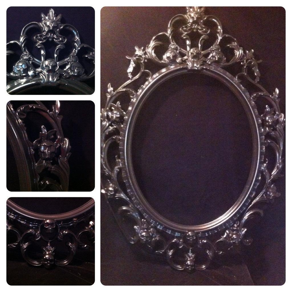 Gloss Black Skull Oval Picture Frame Mirror Shabby Chic Baroque In Baroque Black Mirror (Image 12 of 20)