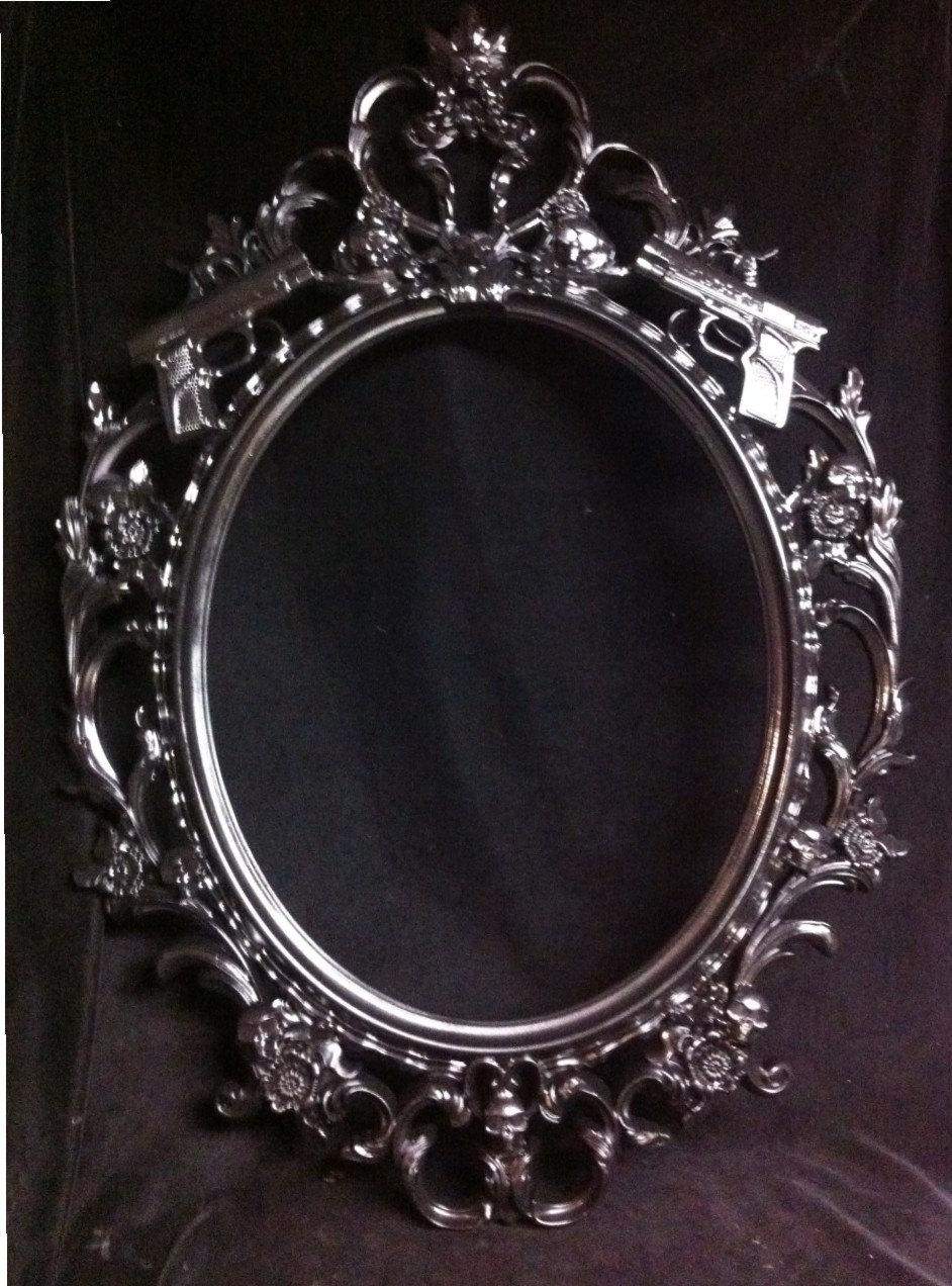 Gloss Black Skulls & Guns Oval Picture Frame Mirror Shabby Chic Intended For Baroque Black Mirror (Image 13 of 20)