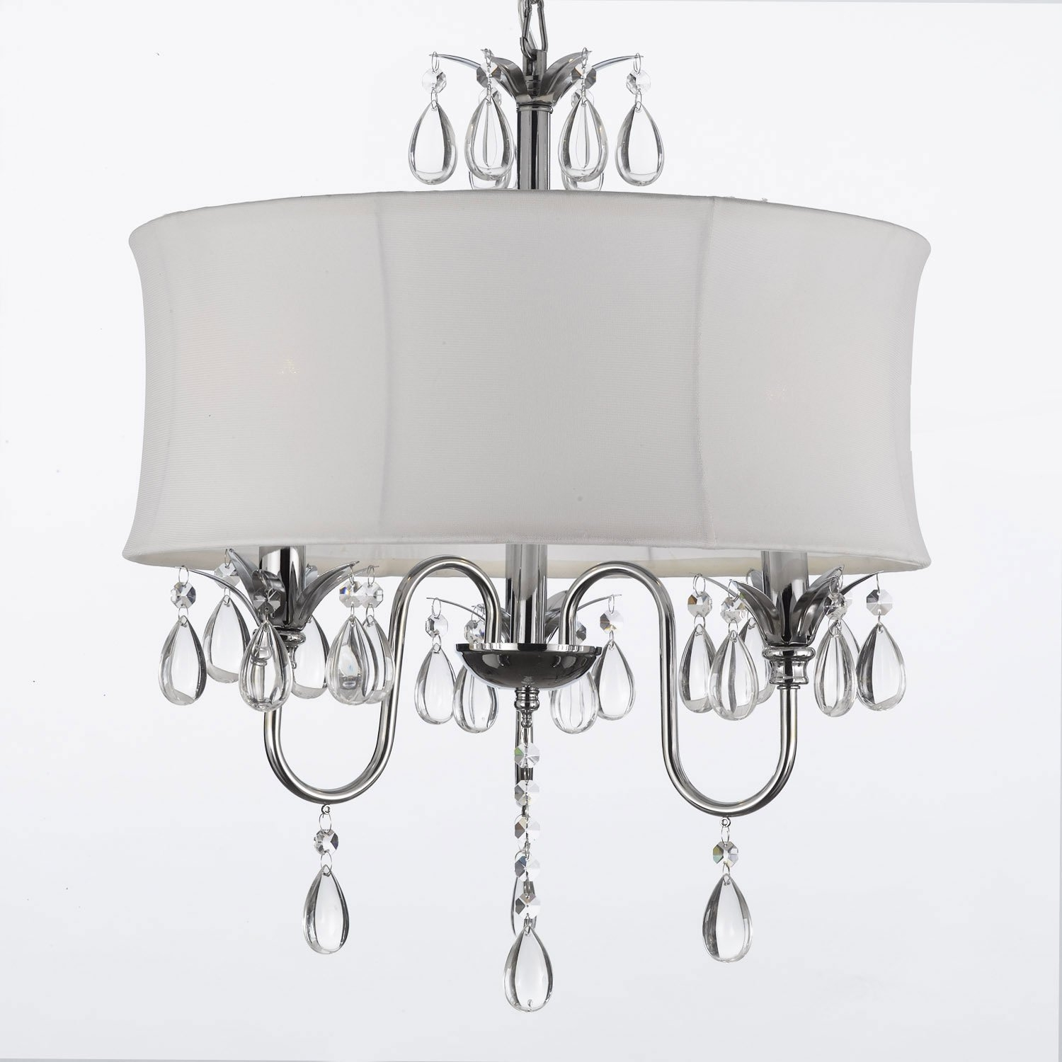 Go A7 White8343 White Drum Shade Crystal Ceiling Chandelier Regarding Small Chandelier Lamp Shades (Image 13 of 25)
