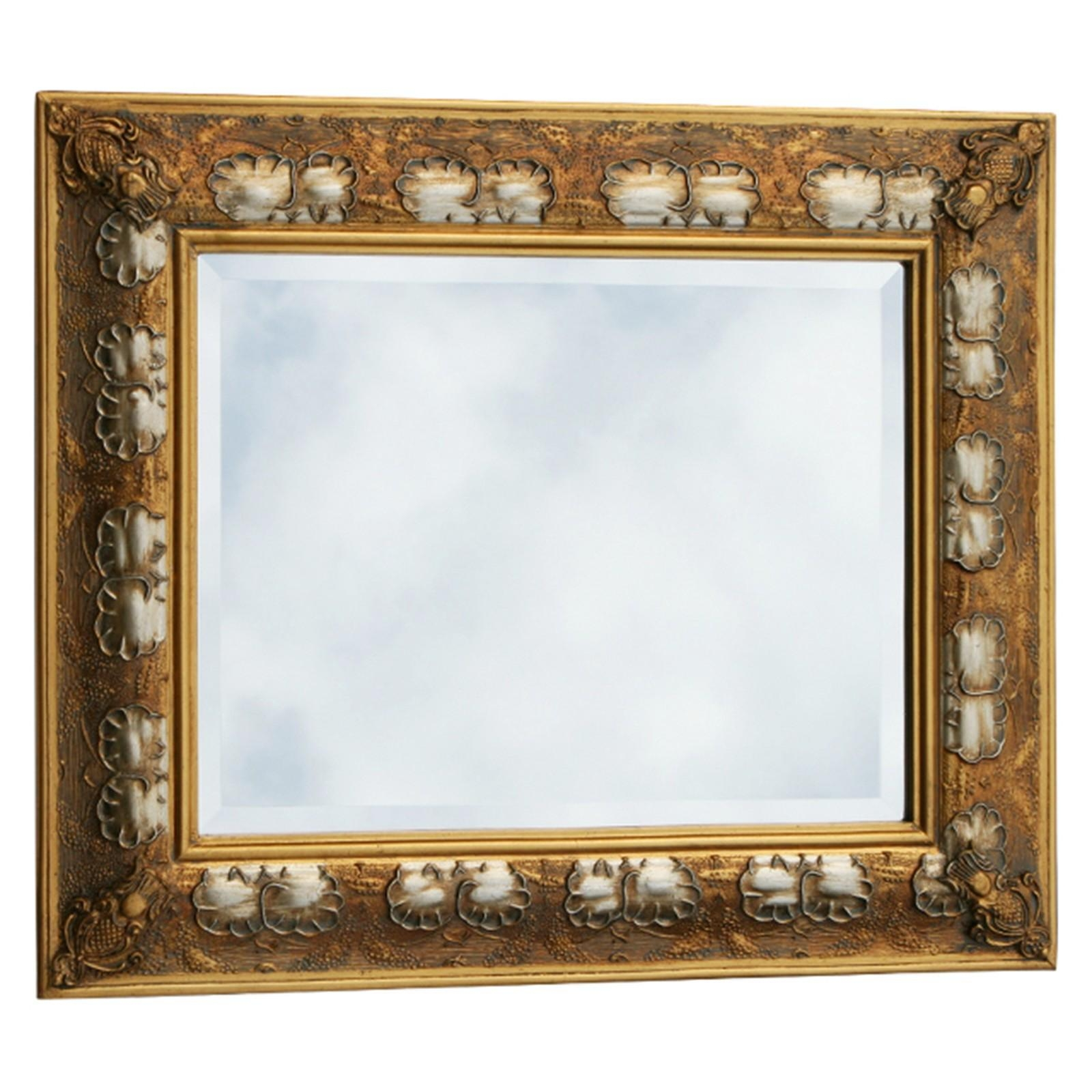 Gold And Silver Two Tone Baroque Wood Mirror With Antique Look For For Baroque Mirror Silver (Image 14 of 20)