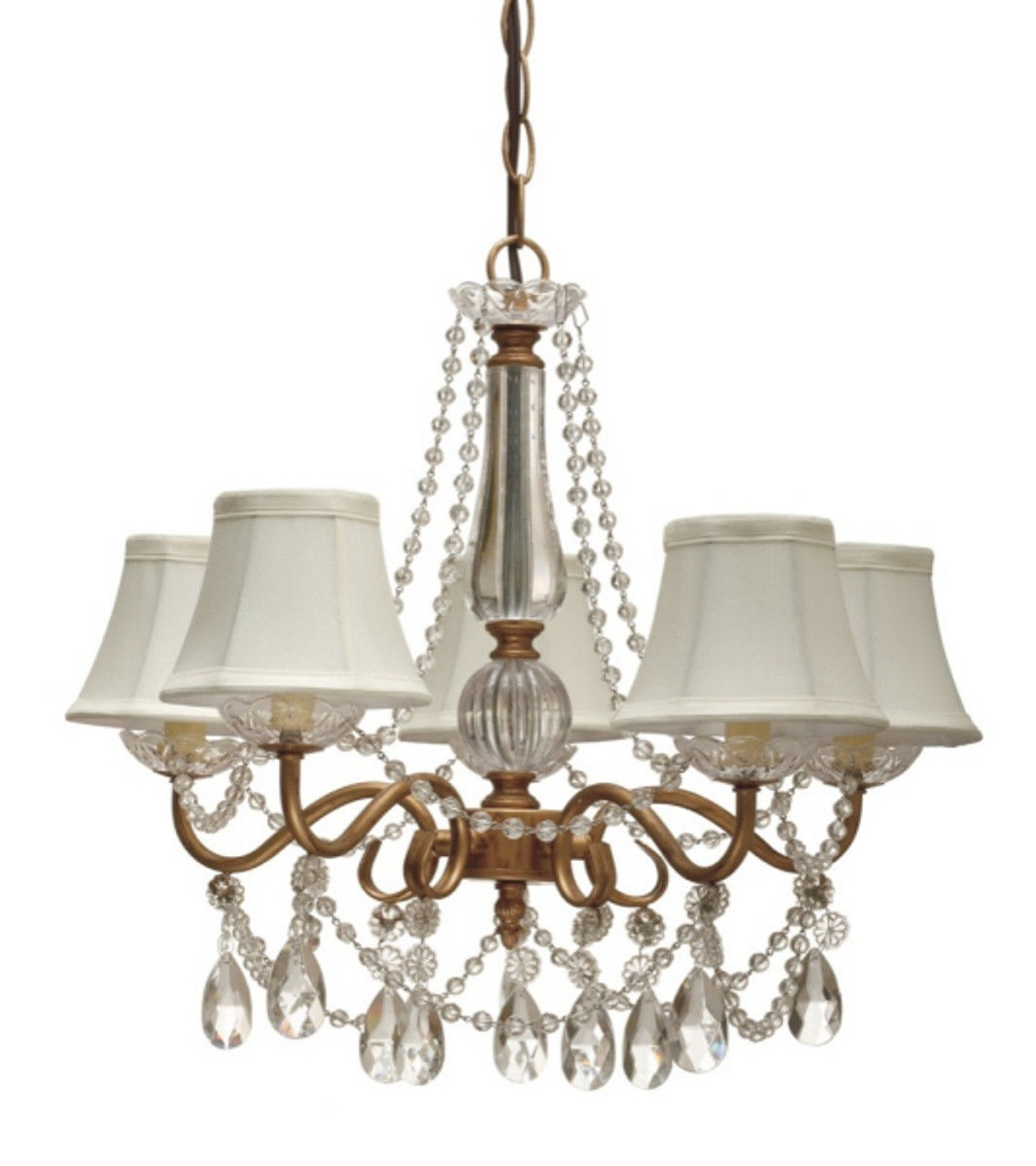 Gold Arm Crystals Chandelier 5 Silk Shades Lamp Shade Pro Pertaining To Lampshade Chandeliers (Image 11 of 25)