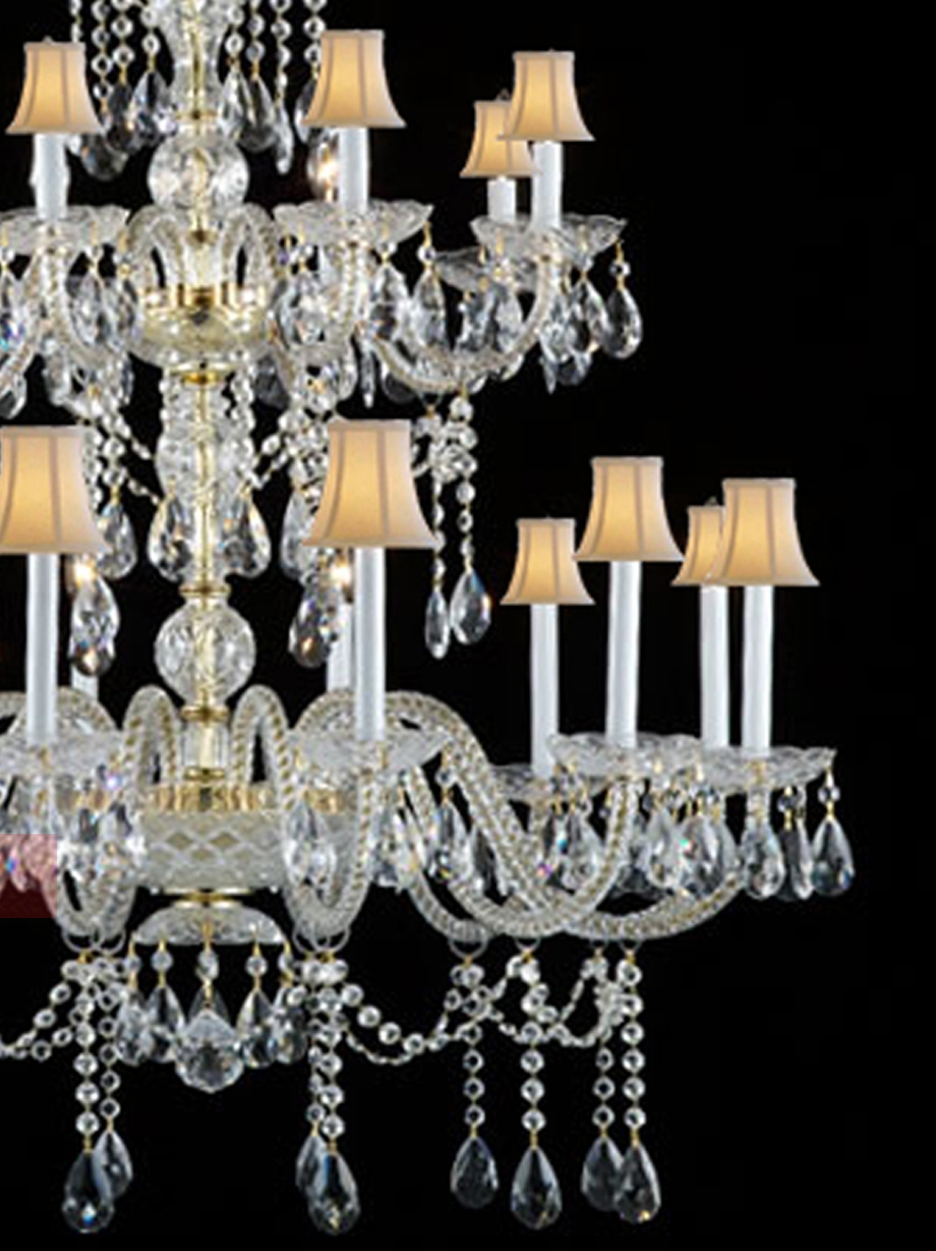 Gold Finish Large Crystal Chandelier High Quaity Huge Chandeliers Intended For Lampshade Chandeliers (Image 12 of 25)