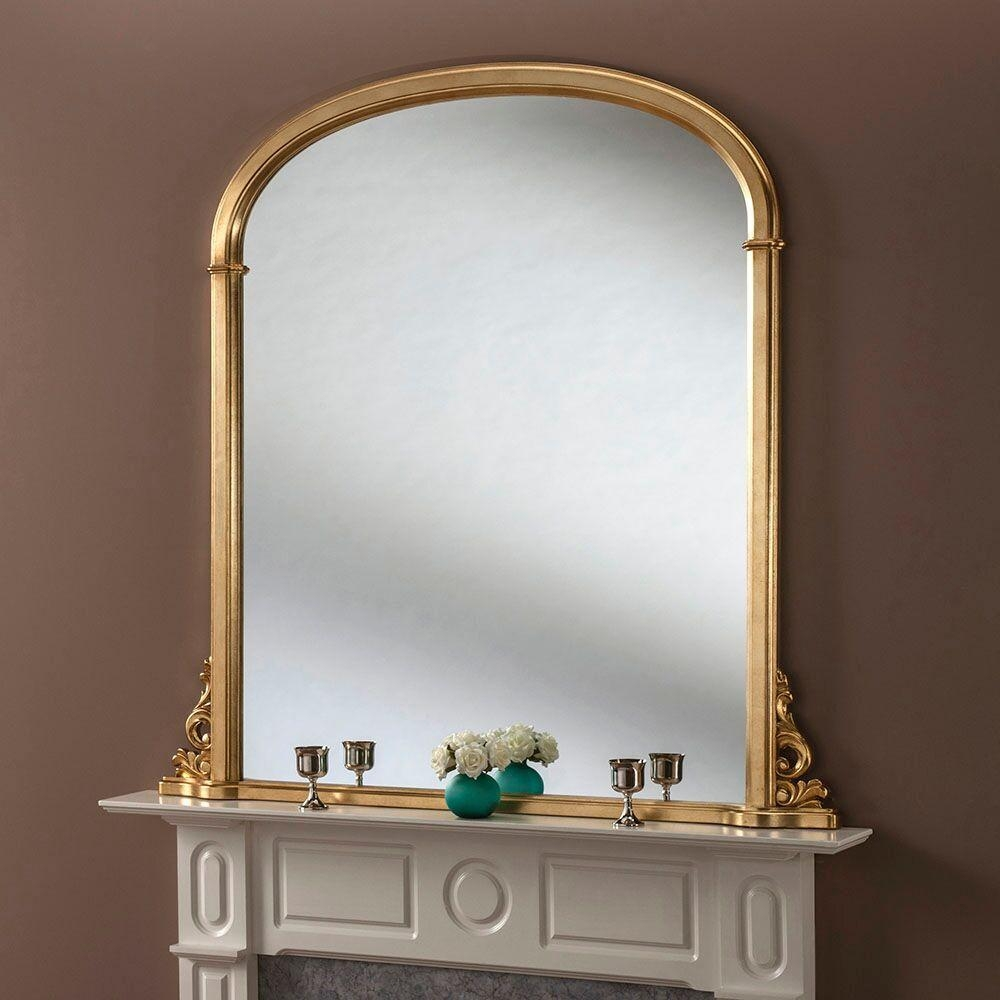 Gold Leaf Overmatle Mirror – 81 X 122Cm Gold Leaf Overmantle Regarding Gold Arch Mirror (View 7 of 20)