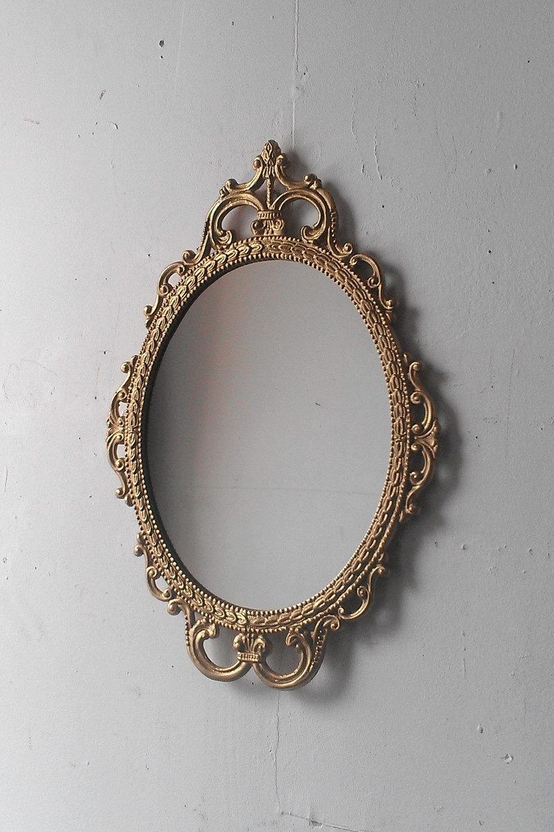 Gold Mirror In Vintage Oval Frame Small Bathroom Wall Mirror Pertaining To Small Antique Mirrors (Image 7 of 20)