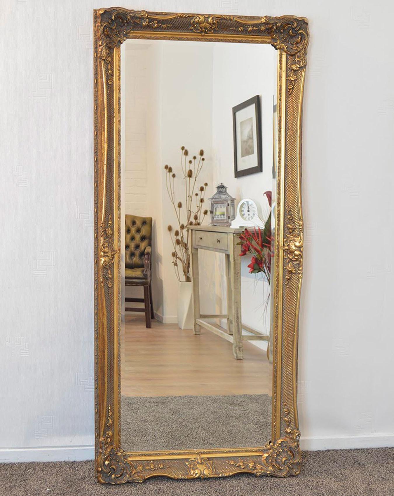Gold Ornate Full Length Mirror 81Cm X 173Cm | Large Mirrors Inside Ornate Floor Length Mirror (Image 14 of 20)